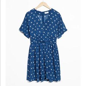 & Other Stories Blue Floral Mini Dress
